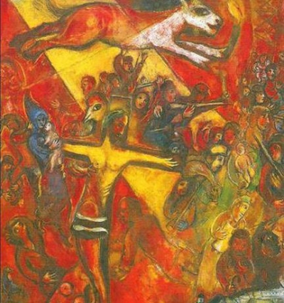 Chagall 1937-1948. in the works of Chagall, the power generates destruction (a group of soldiers firing on crowds, where the military in the middle, touches an animal with the torch, a symbol of power). The power that imprisons the people and creates suffering and immense pain.