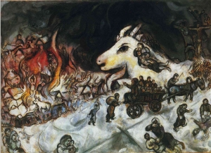 Photo: Marc Chagall - (War -1966). The massacre of the village without any opposition. The little people of the mountain, without defending had been massacred, involving the same children, to honour the principle of non-violence. The Non-defence of children, defenceless is idolatry to a principle sacrificing the community and children themselves (symbolism of the sacrificial goat on the bottom that watches the massacre of villagers with startled look).