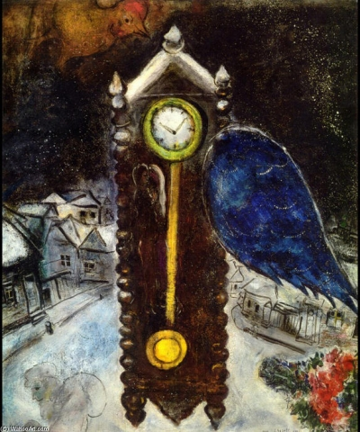 Picture: Marc Chagall - 1949 - Clock - The importance of time for human life.